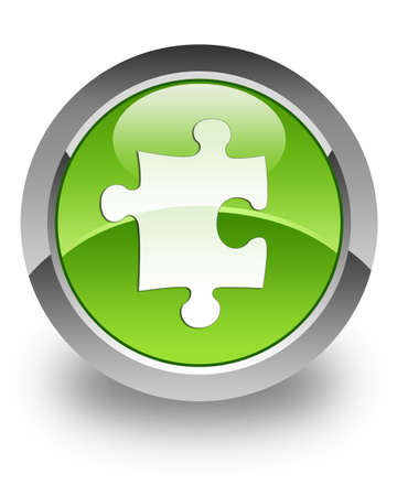 Plugin   Puzzle icon on green glossy button photo