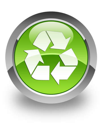 Recycle icon on green glossy button photo