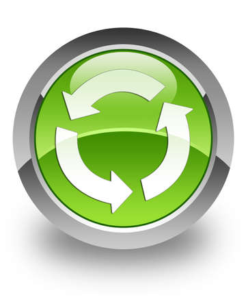 update: Refresh icon on green glossy button Stock Photo