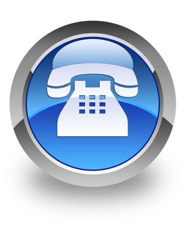 telephone: Icono de tel�fono en el bot�n azul brillante