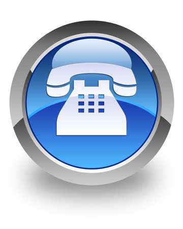 Telephone icon on blue glossy button Stock Photo
