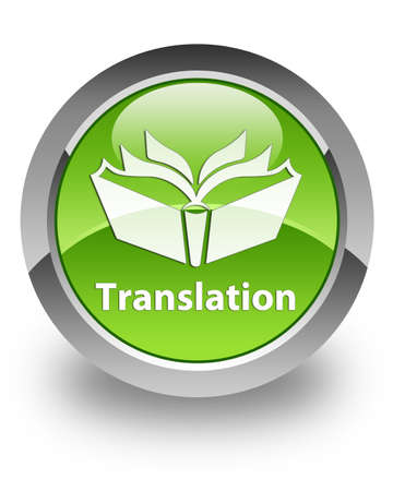 spanish language: Translation icon on green glossy button Stock Photo