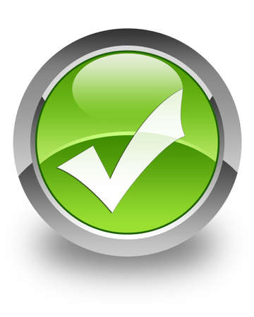 Validation icon on green glossy button Stock Photo