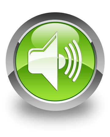 Volume icon on green glossy button Stock Photo - 13261478