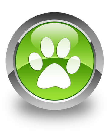 dog paws: Animal footprint icon on glossy green round button