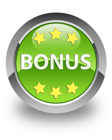 Bonus icon on glossy green round button Stock Photo