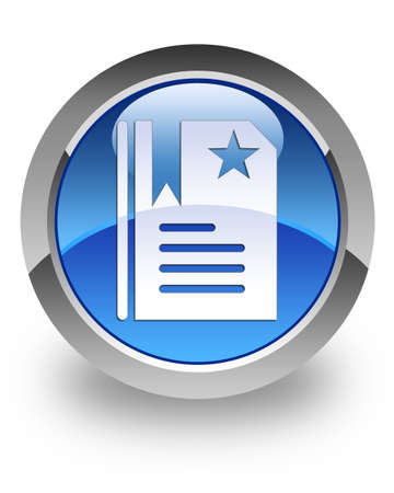 Bookmark icon on glossy blue round button photo