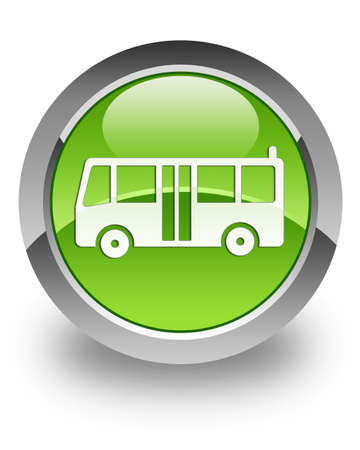 Bus icon on glossy green round button Stock Photo - 13809770