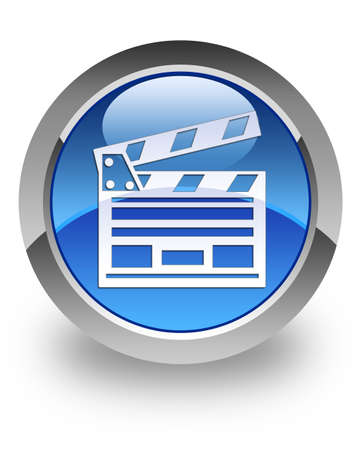 blue button: Cinema clipboard icon on glossy blue round button Stock Photo