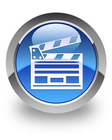 Cinema clipboard icon on glossy blue round button 版權商用圖片