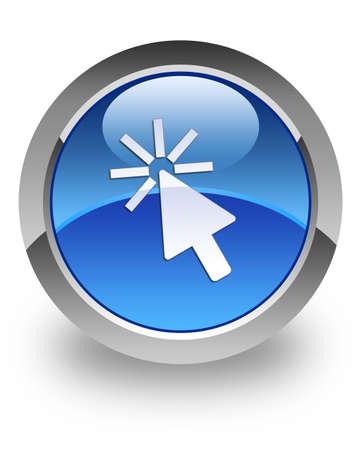 klik: Cursor pictogram op glanzende blauwe ronde knop Stockfoto