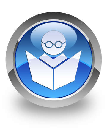 E-learning icon on glossy blue round button