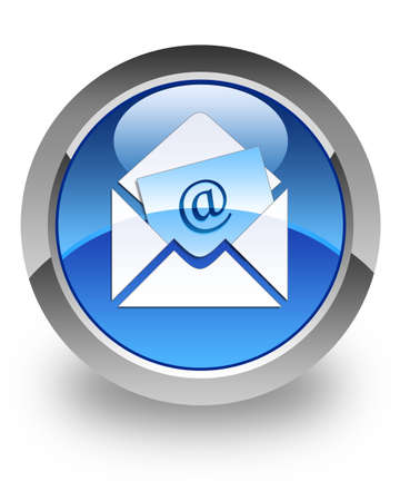 E-mail icon on glossy blue round button Stock Photo - 13956094
