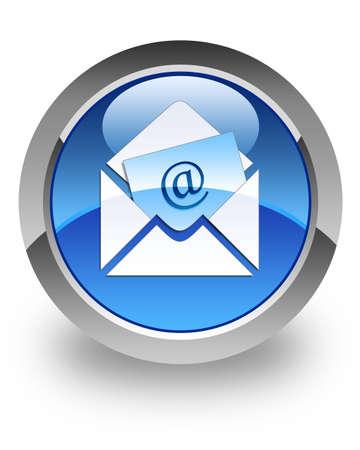 Email: E-Mail-Symbol auf gl�nzenden blauen runden Knopf Lizenzfreie Bilder