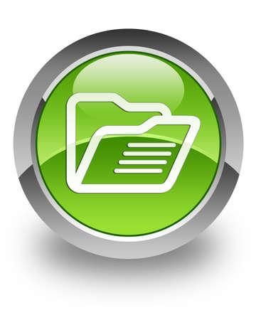 Folder icon on glossy green round button photo