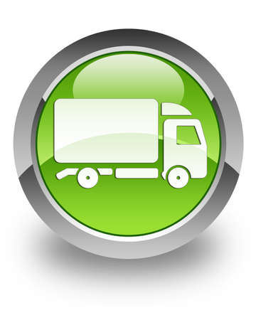 Truck icon on glossy green round button photo