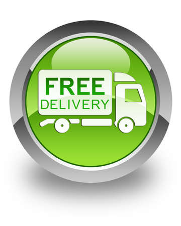 Free delivery truck icon on glossy green round button photo