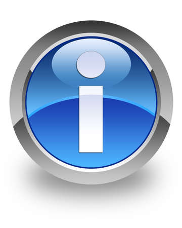 Info icon on glossy blue round button photo