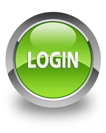 knopf: Einloggen Symbol auf gl�nzenden gr�nen runden Knopf