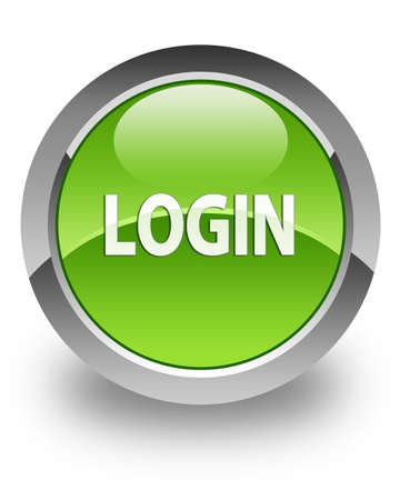 Login icon on glossy green round button photo