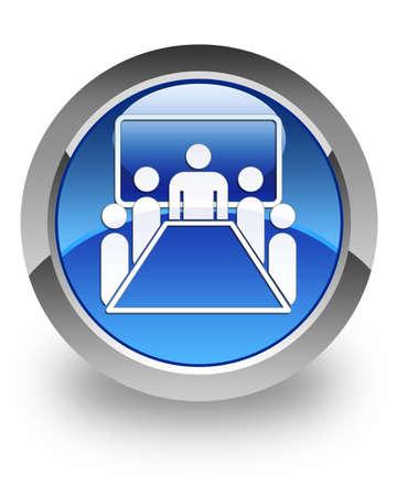Meeting room icon on glossy blue round button  版權商用圖片
