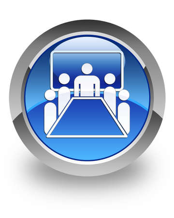 Meeting room icon on glossy blue round button  Stock Photo