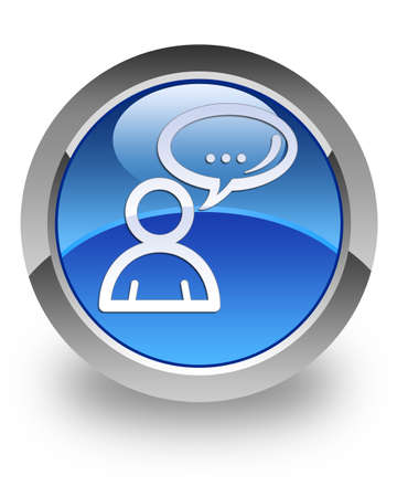 Social network icon on glossy blue round button