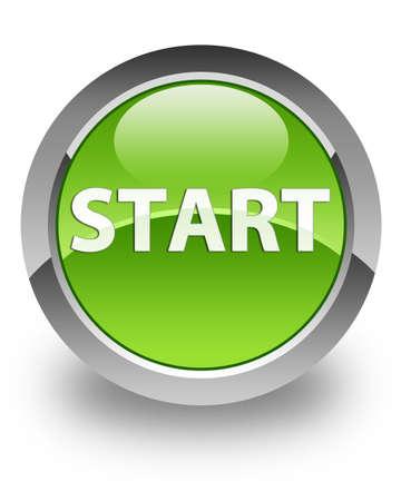 empezar: Inicio icono en el botón redondo verde brillante