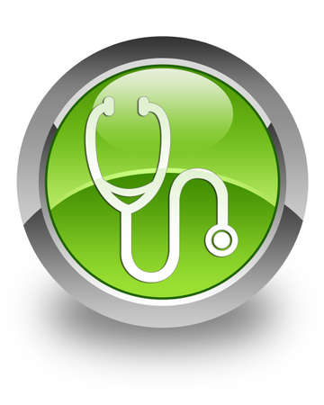 Stethoscope icon on glossy green round button photo