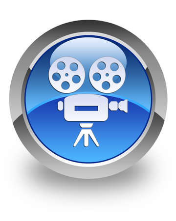 video camera: Video camera icon on glossy blue round button
