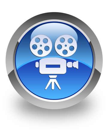 video camera icon: Video camera icon on glossy blue round button