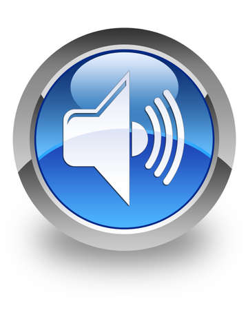 Volume icon on glossy blue round button Stock Photo - 13809774