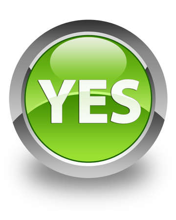 Yes icon on glossy green round button photo