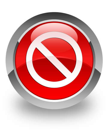 refuse: Access denied icon on glossy red round button Stock Photo