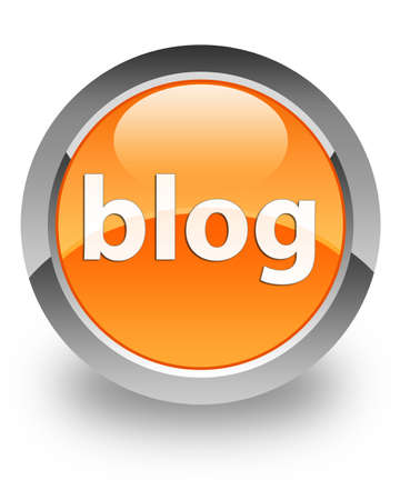 blog icon on glossy orange round button photo