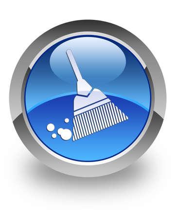 dweilen: Bezem pictogram op glanzende ronde knop blauw