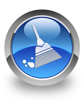 Broom icon on glossy blue round button Stock Photo - 15446219