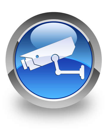 security monitor: CCTV camera icon on glossy blue round button