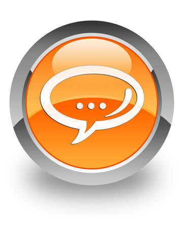Chat icon on glossy orange round button  photo