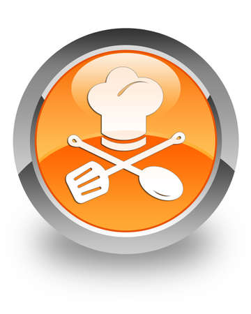 Chef icon on glossy orange round button photo
