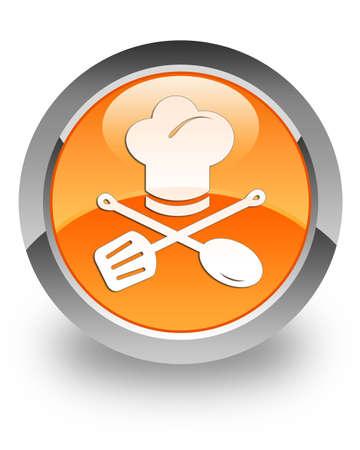 Chef icona sul pulsante rotondo lucido arancione photo