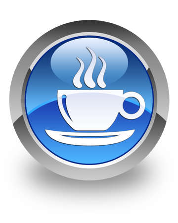 Coffee break icon on glossy blue round button photo