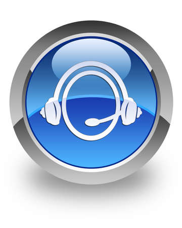 Customer Service icon on glossy blue round button