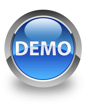 Demo icon on glossy blue round button photo