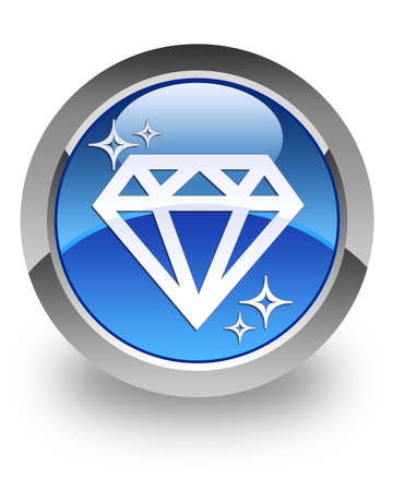 Diamond icon on glossy blue round button photo