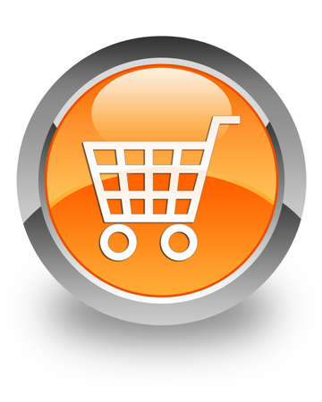 e cart: E-commerce icon on glossy orange round button