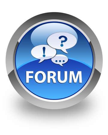 Forum sur l'icône bouton rond bleu brillant Banque d'images