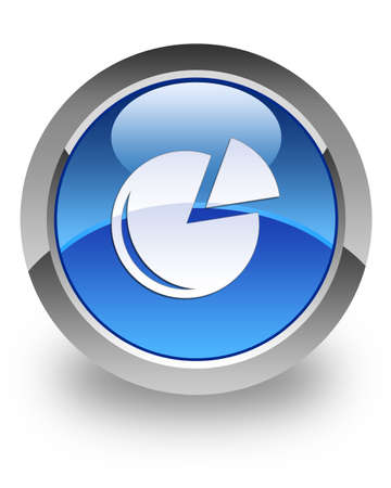 Graph icon on glossy blue round button  photo