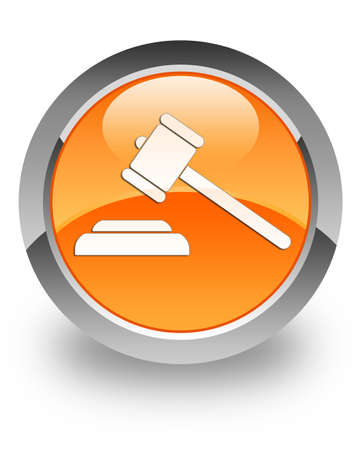 censure: Justice icon on glossy orange round button Stock Photo