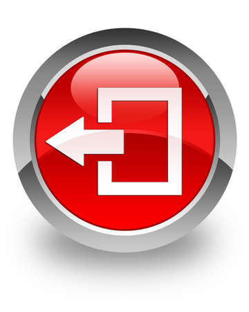 log off: Logout icon on glossy red round button Stock Photo